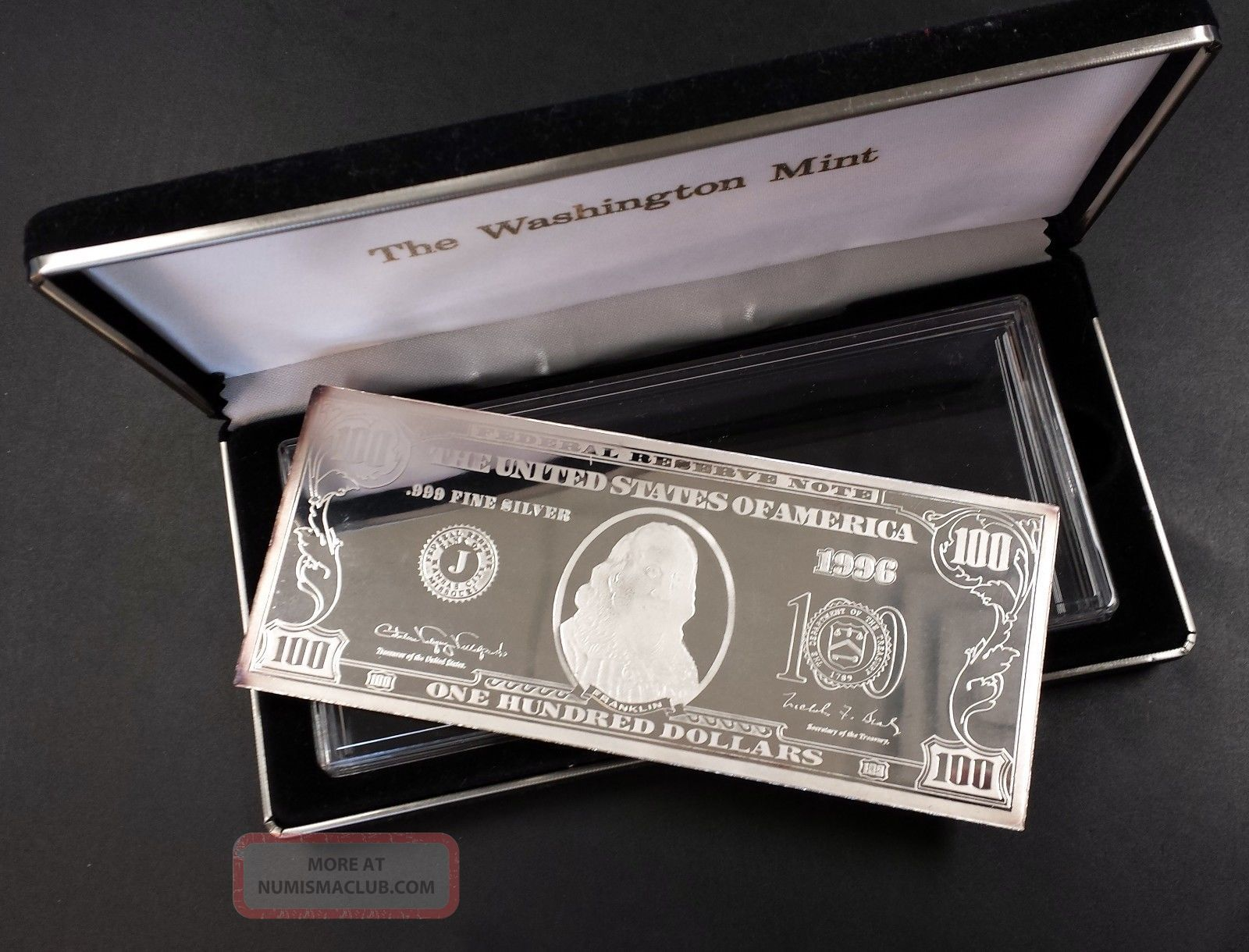 Washington 4 Troy Oz Silver Bar 1996 One Hundred Dollar