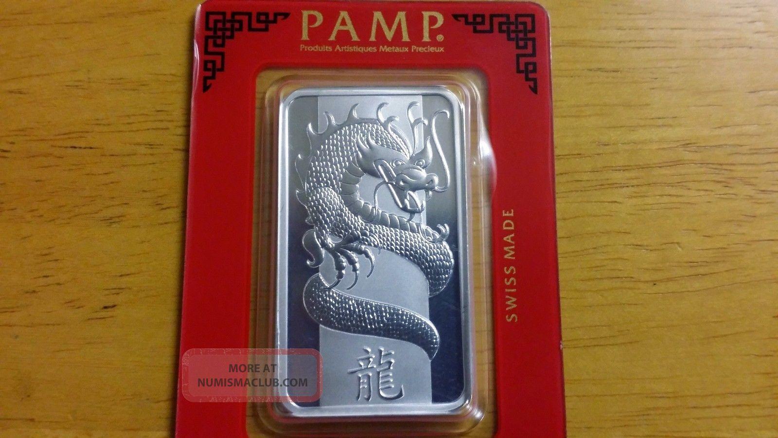 2012 Pamp Suisse Silver Bar 1 Oz Year Of Dragon 999 Bu
