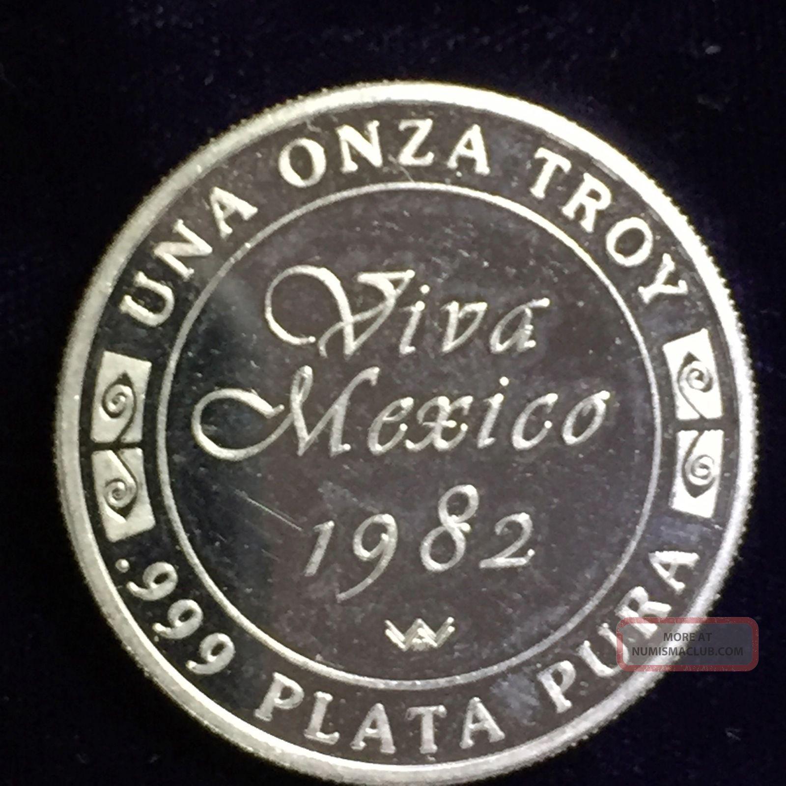 1 Oz Viva Mexico 1982 999 Fine Silver Art Round Libertad
