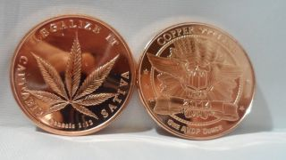 1 Oz.  Legalize It.  999 Fine Copper Bullion Round photo