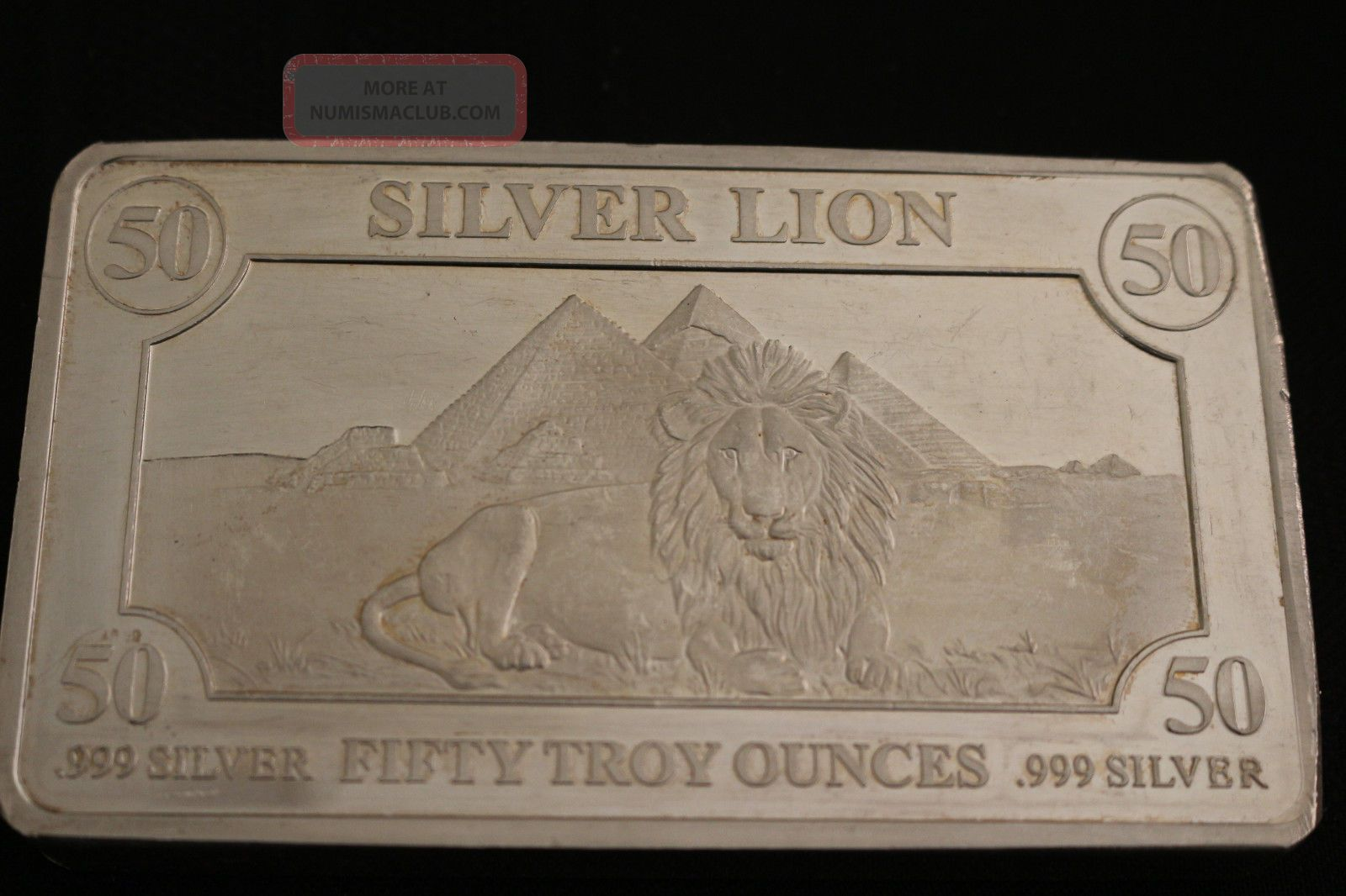 50 Troy Oz Silver Bar 999 Pure Male Lion With Pyramids