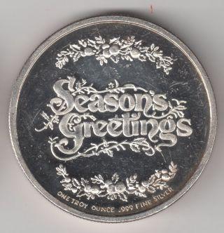 Fine Silver Coin 1 Troy Ounce .999 Seasons Greetings Christmas Coin 2004