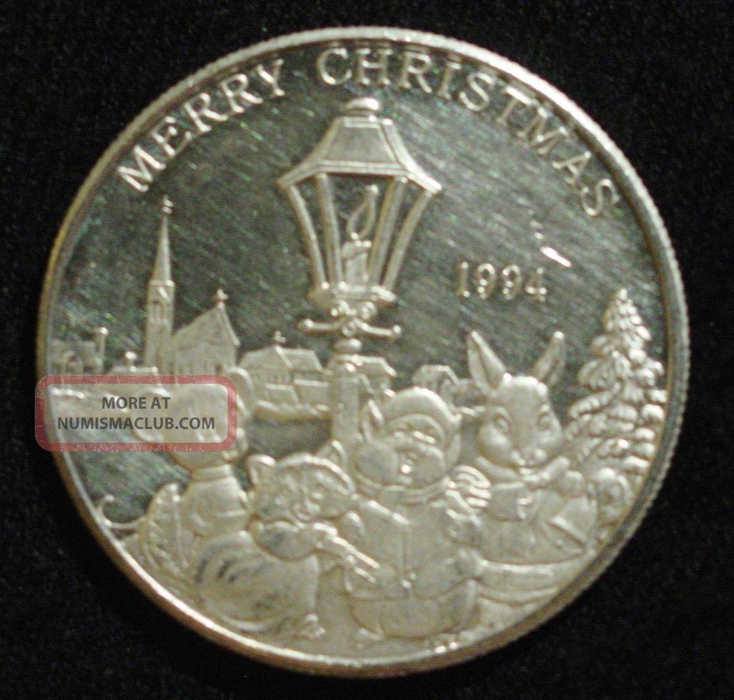 One Troy Ounce Fine Silver Coin 1994 Peace On Earth Merry