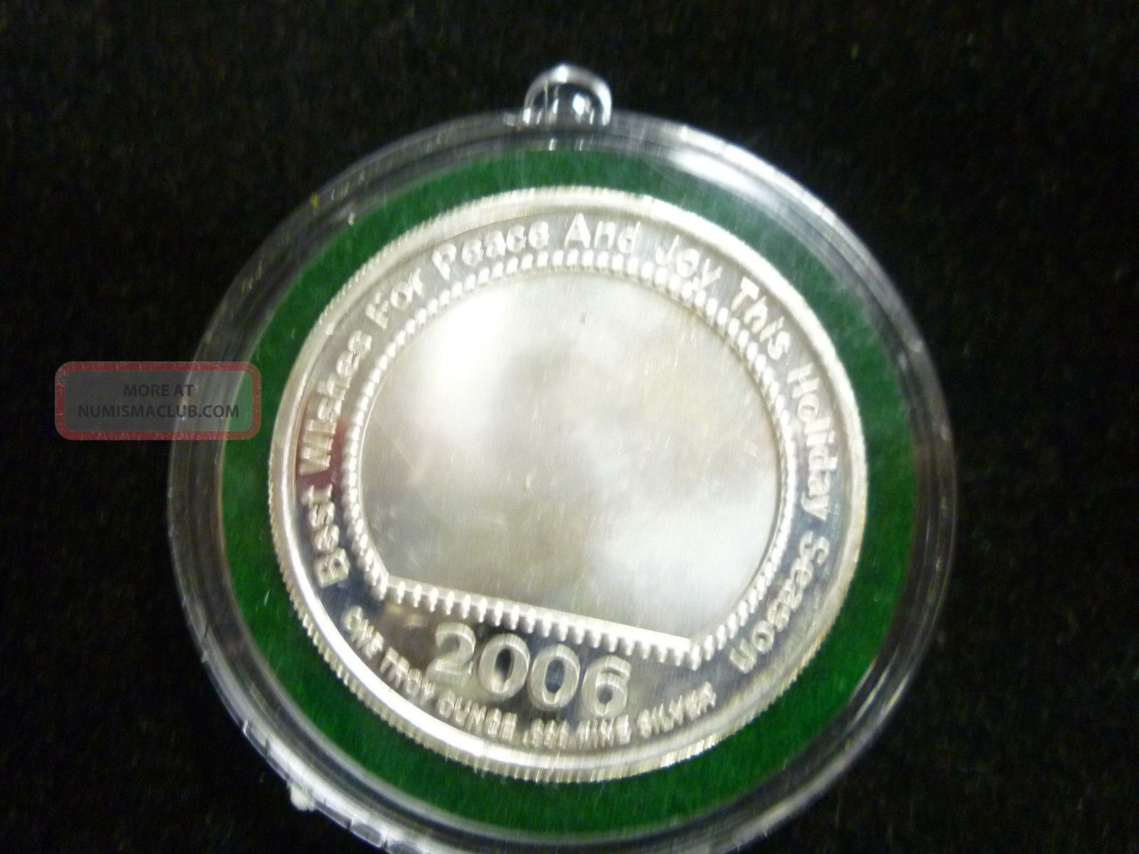 2006 Silver Round Holiday Greetings Xmas Ornament One Troy