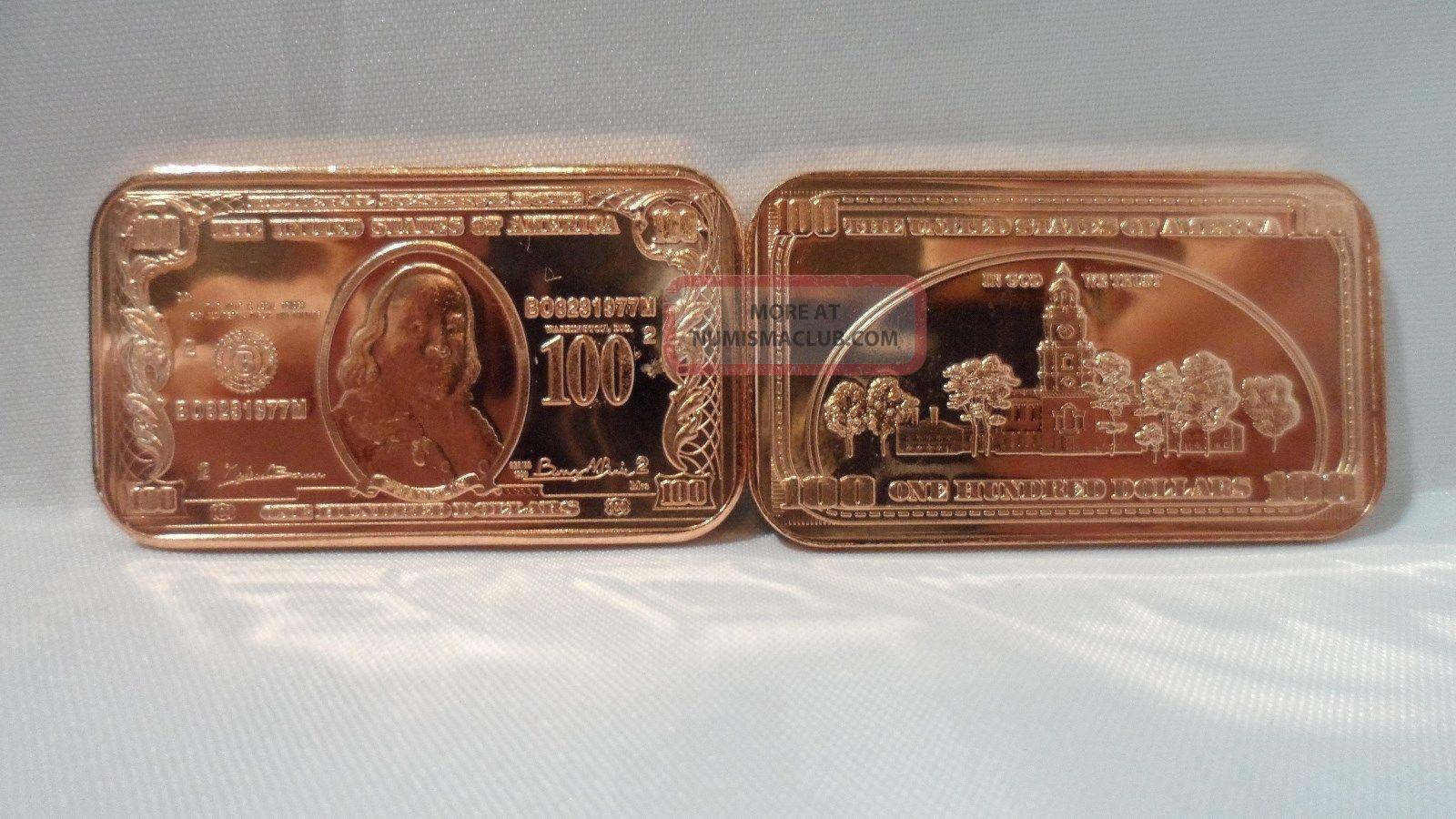 1 Oz 100 Ben Franklin Bank Note Ingot 999 Fine Copper