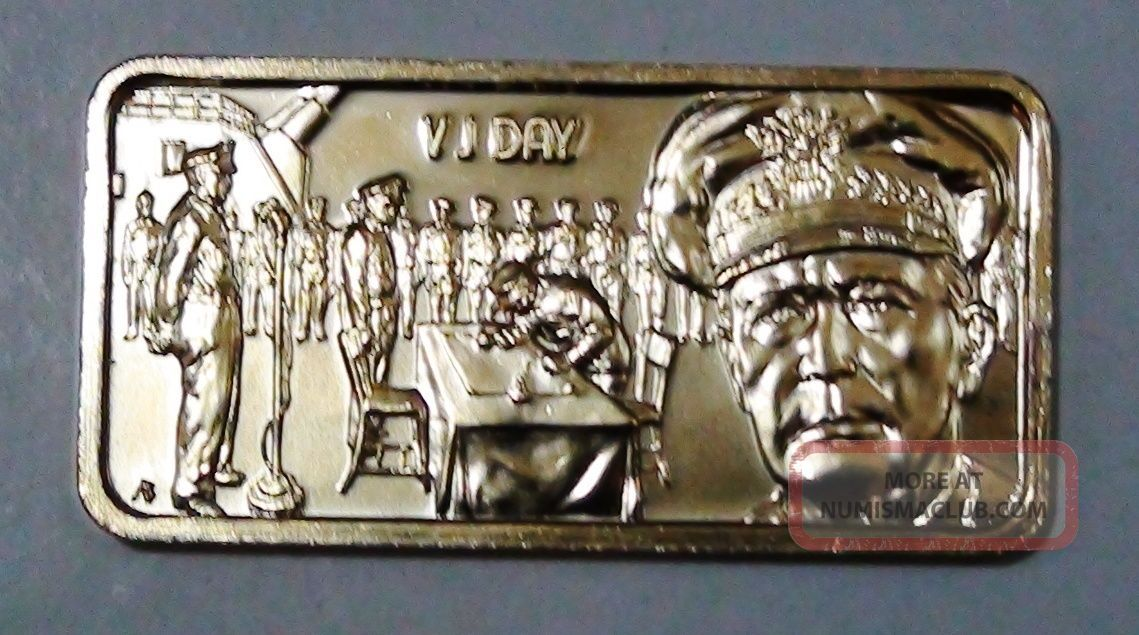1974 Vj Day 1 Troy Oz 999 Fine Silver Hamilton Art Bar