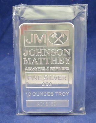 10 Oz Johnson Matthey.  999 Fine Silver Bar 005 photo