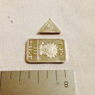 1.  333 Grams.  999 Pure Silver 1 Gram Bar And 1 Grain Triangle photo
