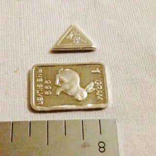 1.  332 Grams.  999 Pure Silver 1 Gram Bar And 1 Grain Triangle photo