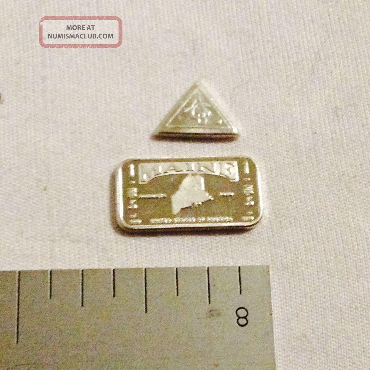 1.  313 Grams.  999 Pure Silver 1 Gram Bar And 1 Grain Triangle Silver photo