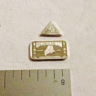 1.  313 Grams.  999 Pure Silver 1 Gram Bar And 1 Grain Triangle photo