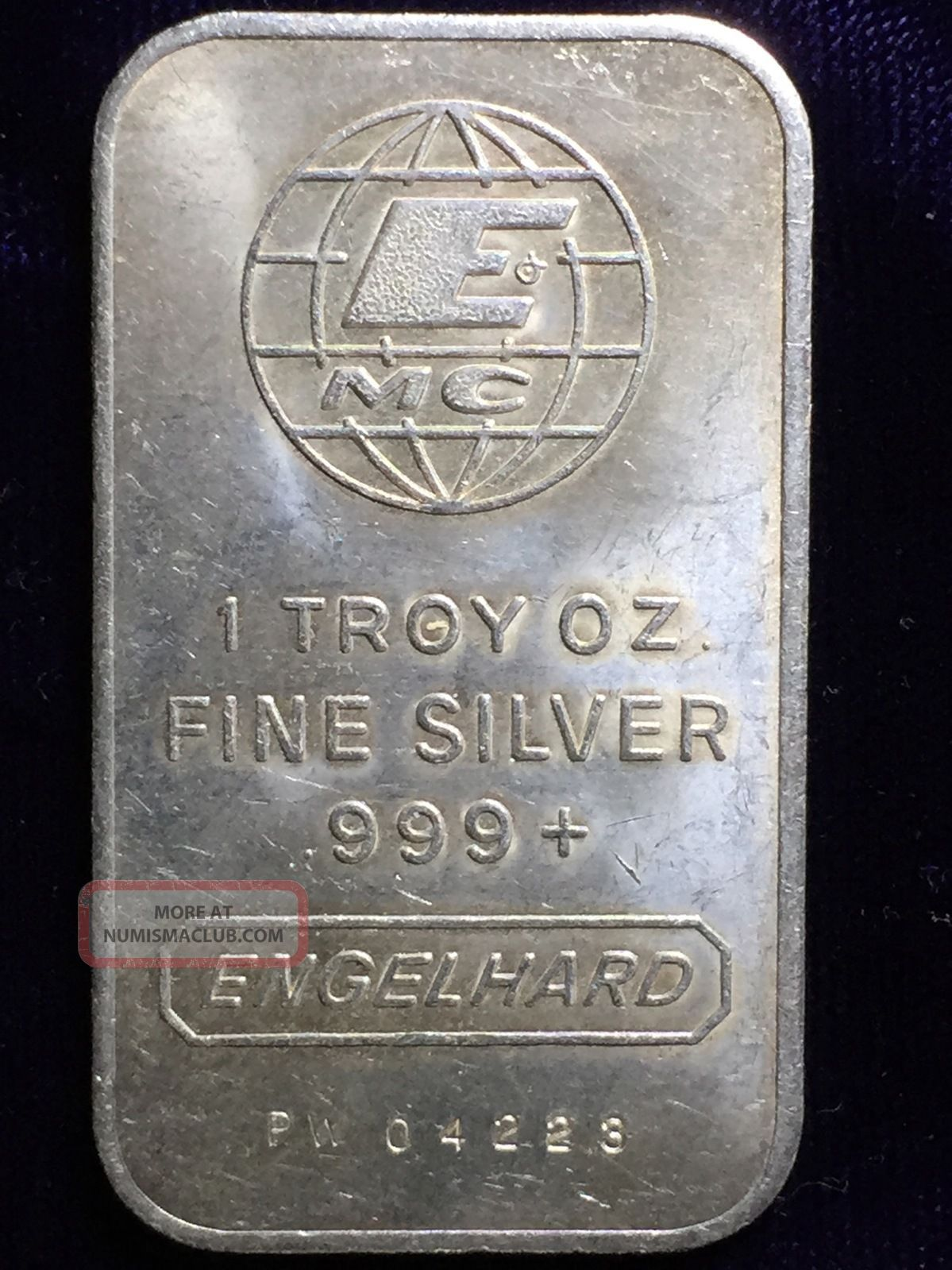 Engelhard 1 Troy Oz 999 Fine Silver Art Bar Small E Mc