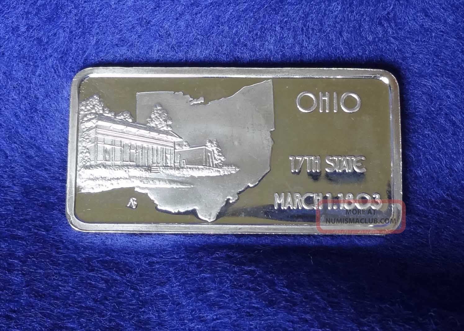 Silver Bar 999 1 Troy Oz Ohio State 1974
