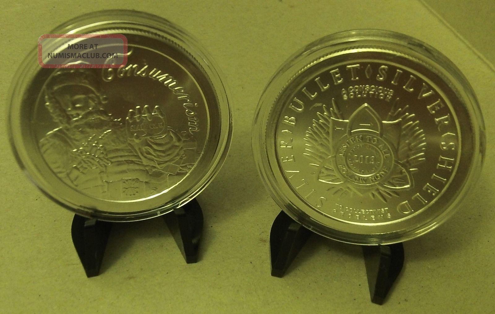 2013 Santa Slave Consumerism Christmas Medallion Silver