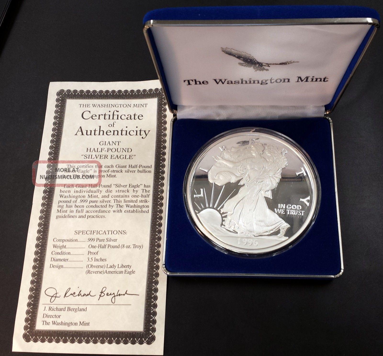 1996 Giant Half Pound Silver Eagle Eight Troy Ounces 0