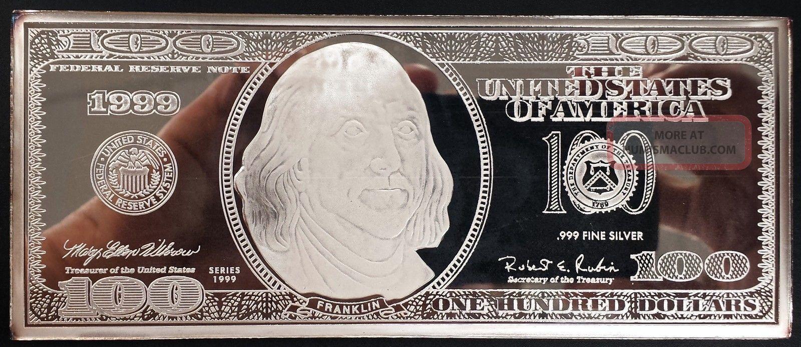 Washington 4 Troy Oz Silver Bar 1999 One Hundred Dollar