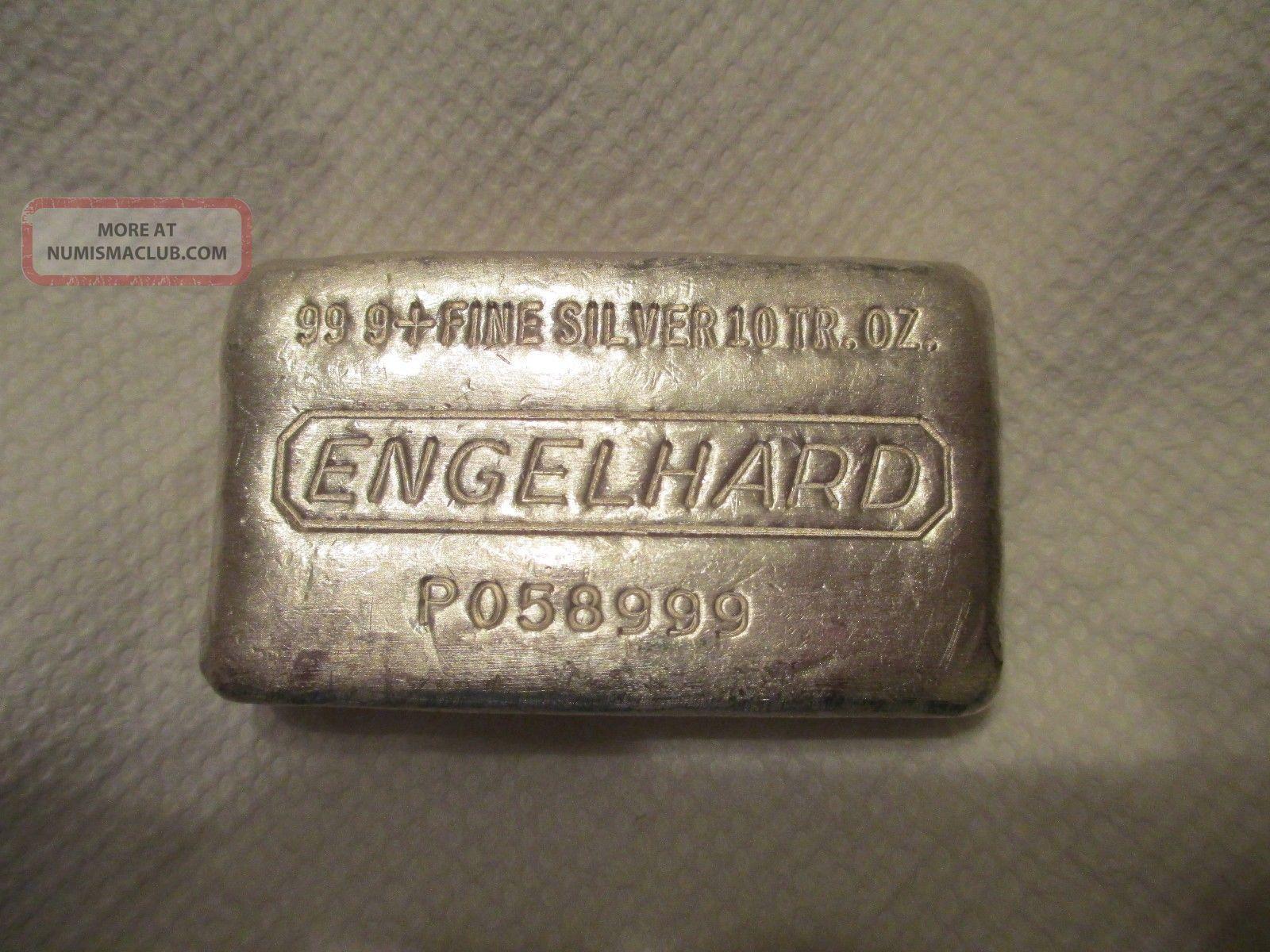 10 Oz Engelhard Silver Bar 999 Old Pour Style Silver Bar