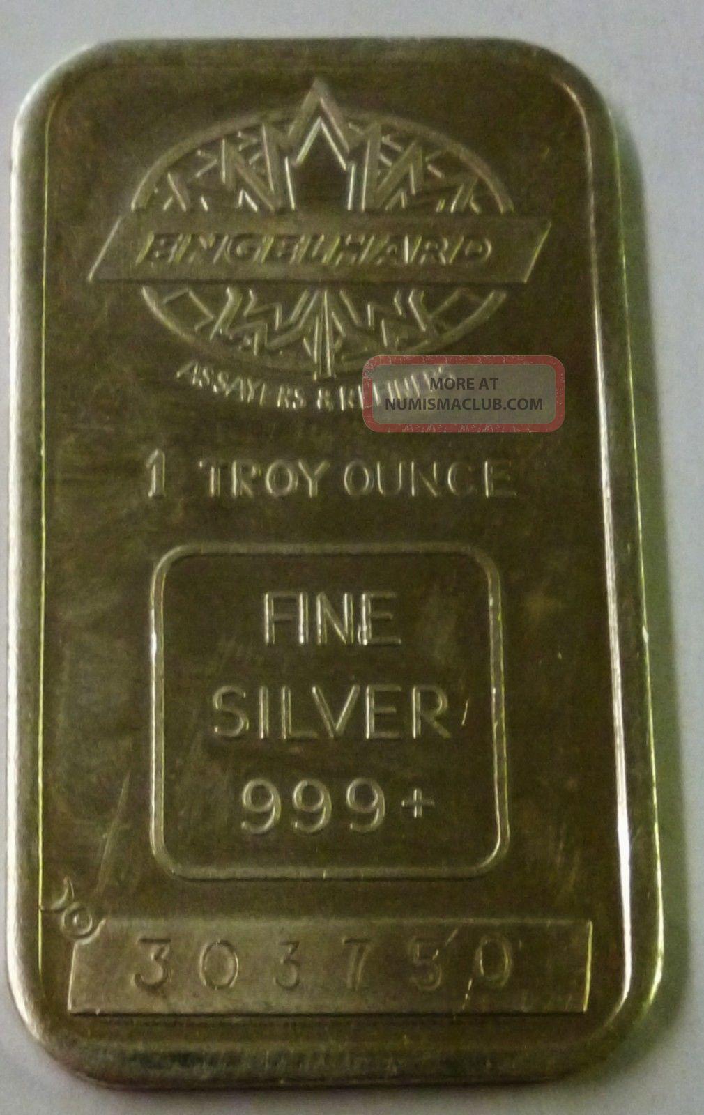 Old Engelhard Assayers Amp Refiners 1 Oz 999 Fine Silver Bar