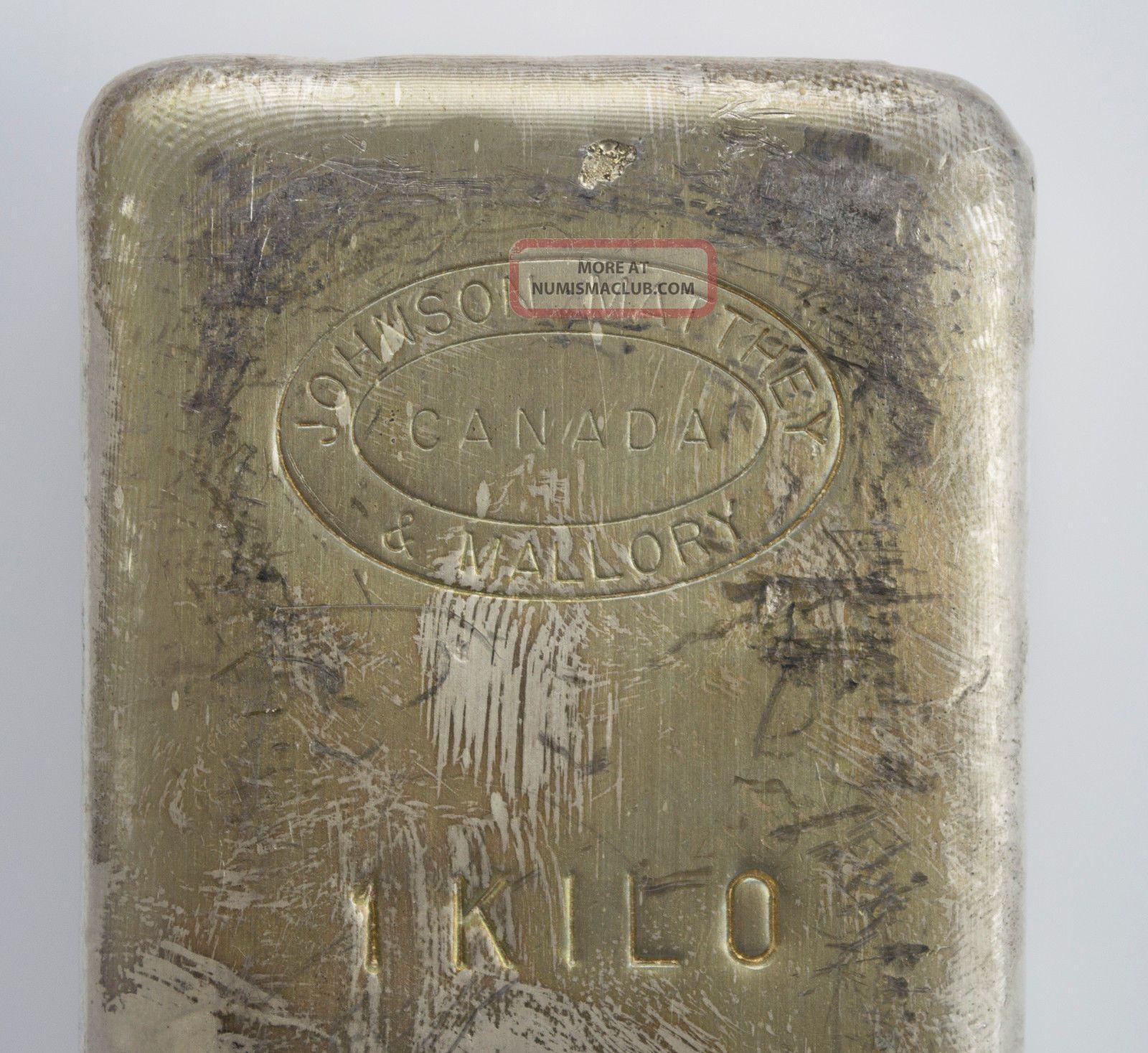 Rare 1 Kilo Jm Johnson Matthey Mallory Canada Old Poured