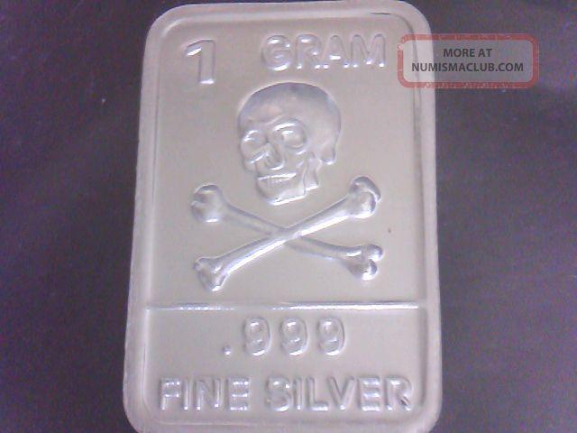 1 Gram Bar Skull Amp Cross Bones 999 Fine Silver