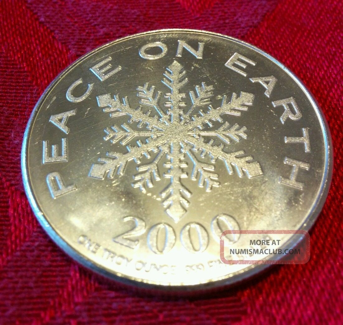 Solid Silver Round 1 Troy Oz Merry Christmas Peace On