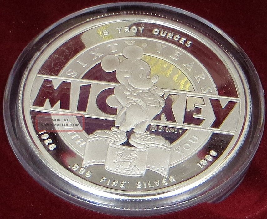 1988 Disney Mickey And Walt 999 Silver 5oz Round 60th Years