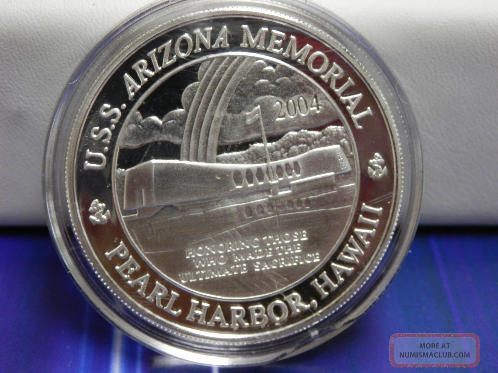 2004 Pearl Harbor Uss Arizona Memorial Coin 1 Oz Fine