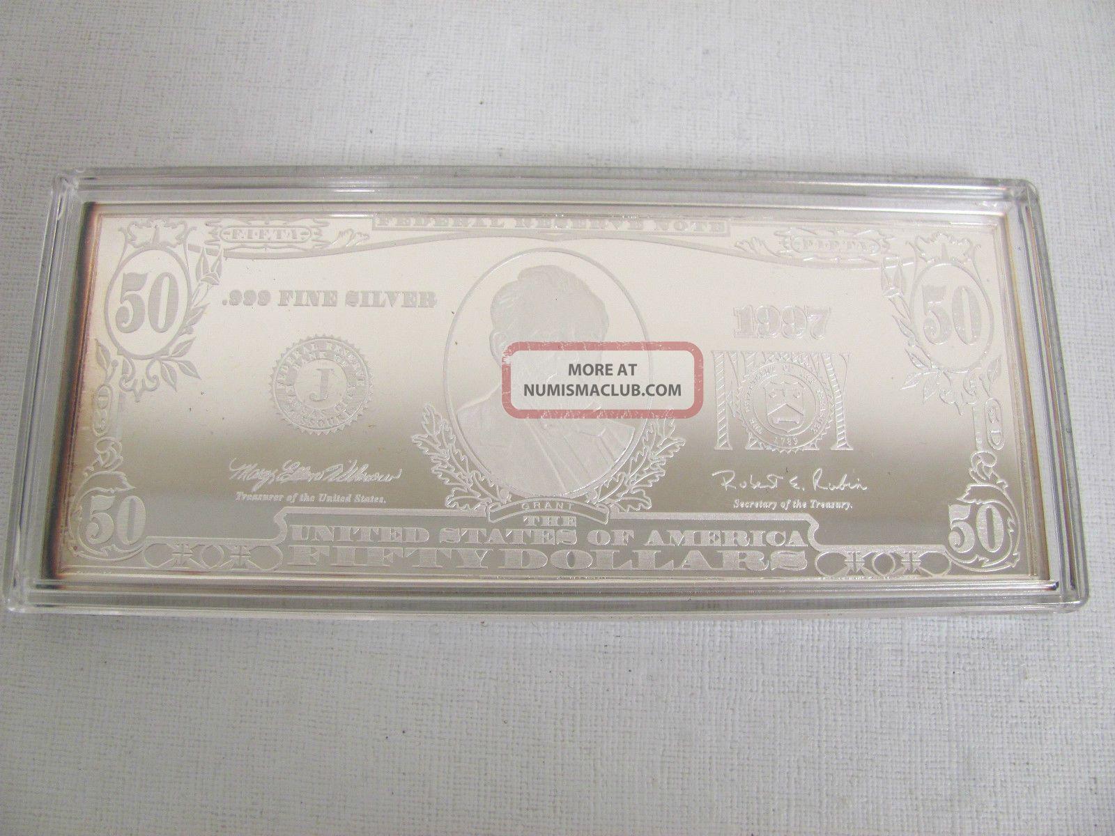 1997 Fine Silver Proof 50 00 Dollar Bill Washington 999