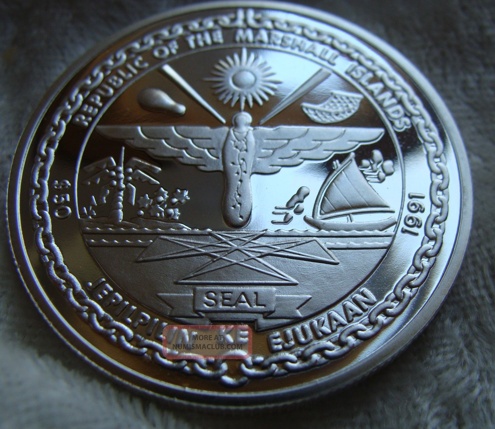 Republic Of The Marshall Island 50 Dollars 1991 Proof 999