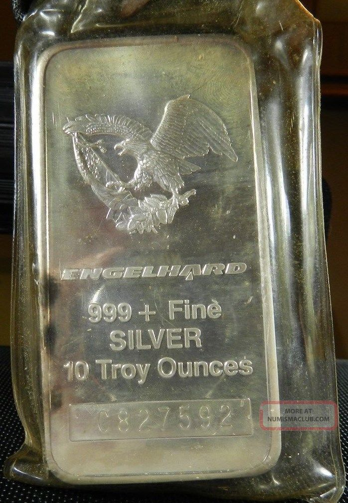Engelhard 10 Troy Oz 999 Fine Silver Commercial Bar 1986