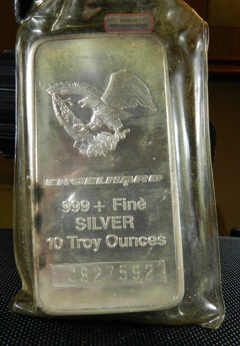 Engelhard 10 Troy Oz 999 Fine Silver Commercial Bar 1986