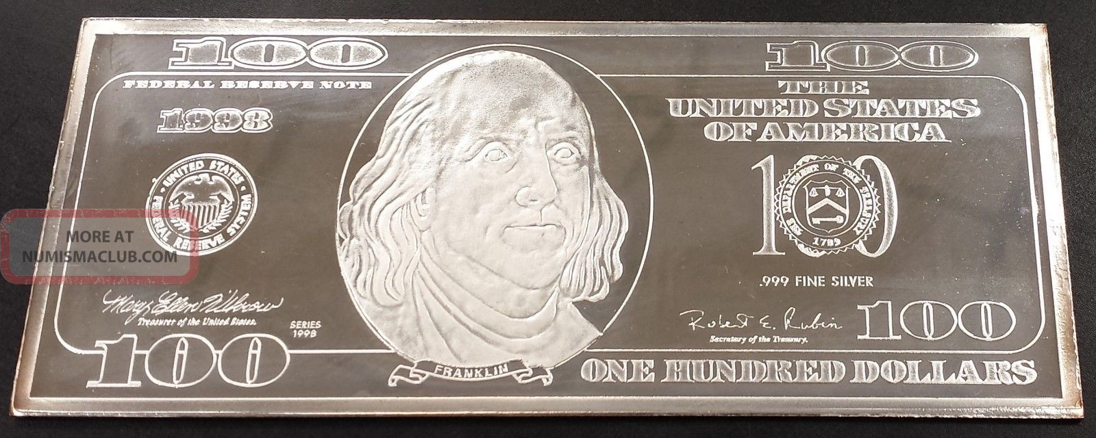Washington 4 Troy Oz Silver Bar Patterned After A One