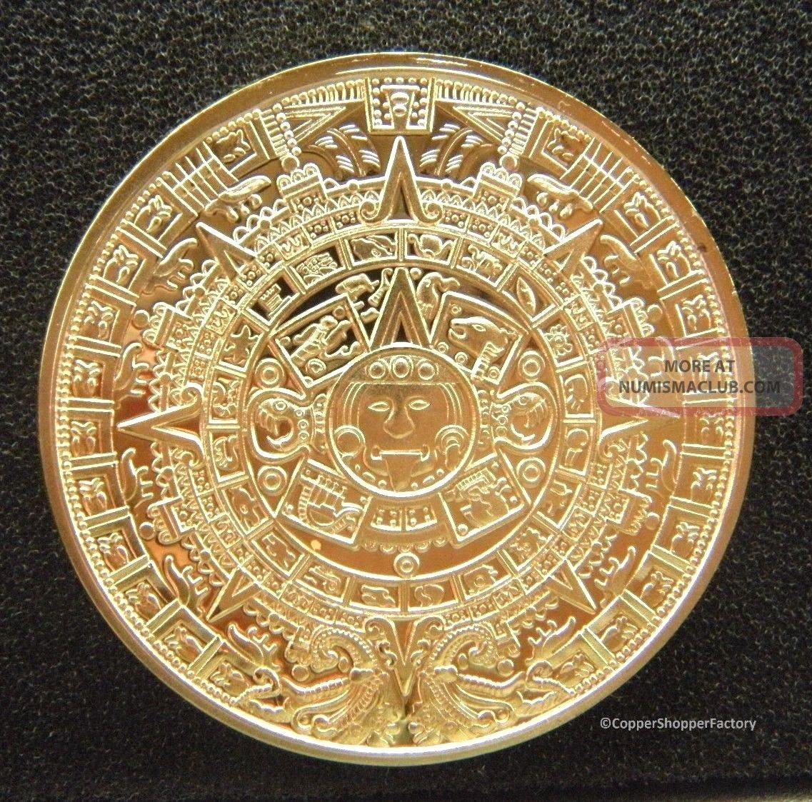 Gold Coin 1 Oz Mexican Aztec 100 Mills 999 24k 1 Ounce