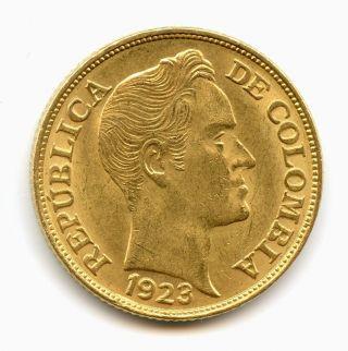 Colombia 1923 Gold 5 Pesos (km201.  1) Bu Scarcer Variety Bogota Sovereign photo