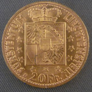 1946 B Gold Liechtenstein 20 Franken photo
