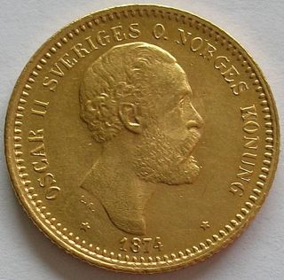 1874 Kingdom Of Sweden Oscar Ii Gold 10 Kronor Coin photo
