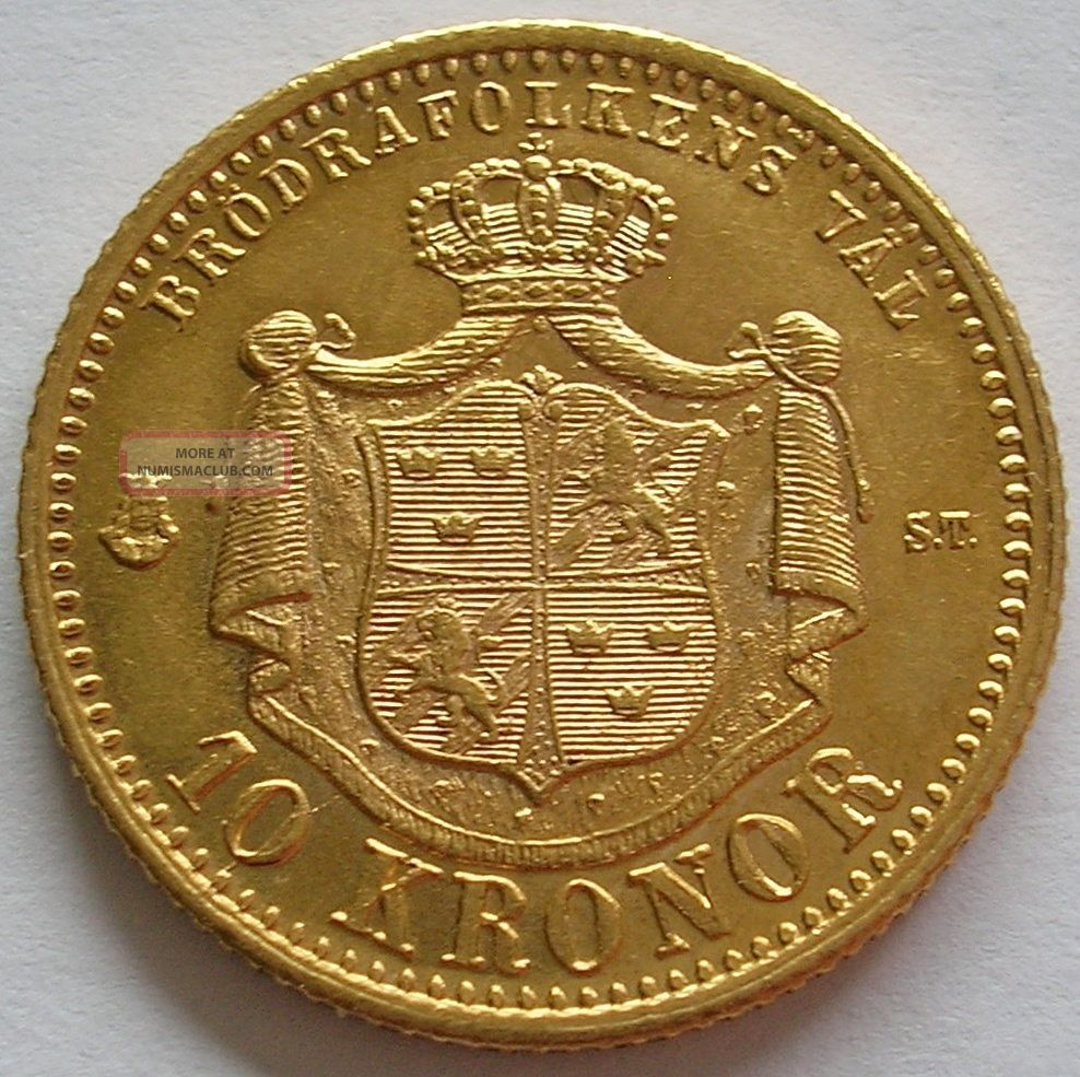 1874 Kingdom Of Sweden Oscar Ii Gold 10 Kronor Coin