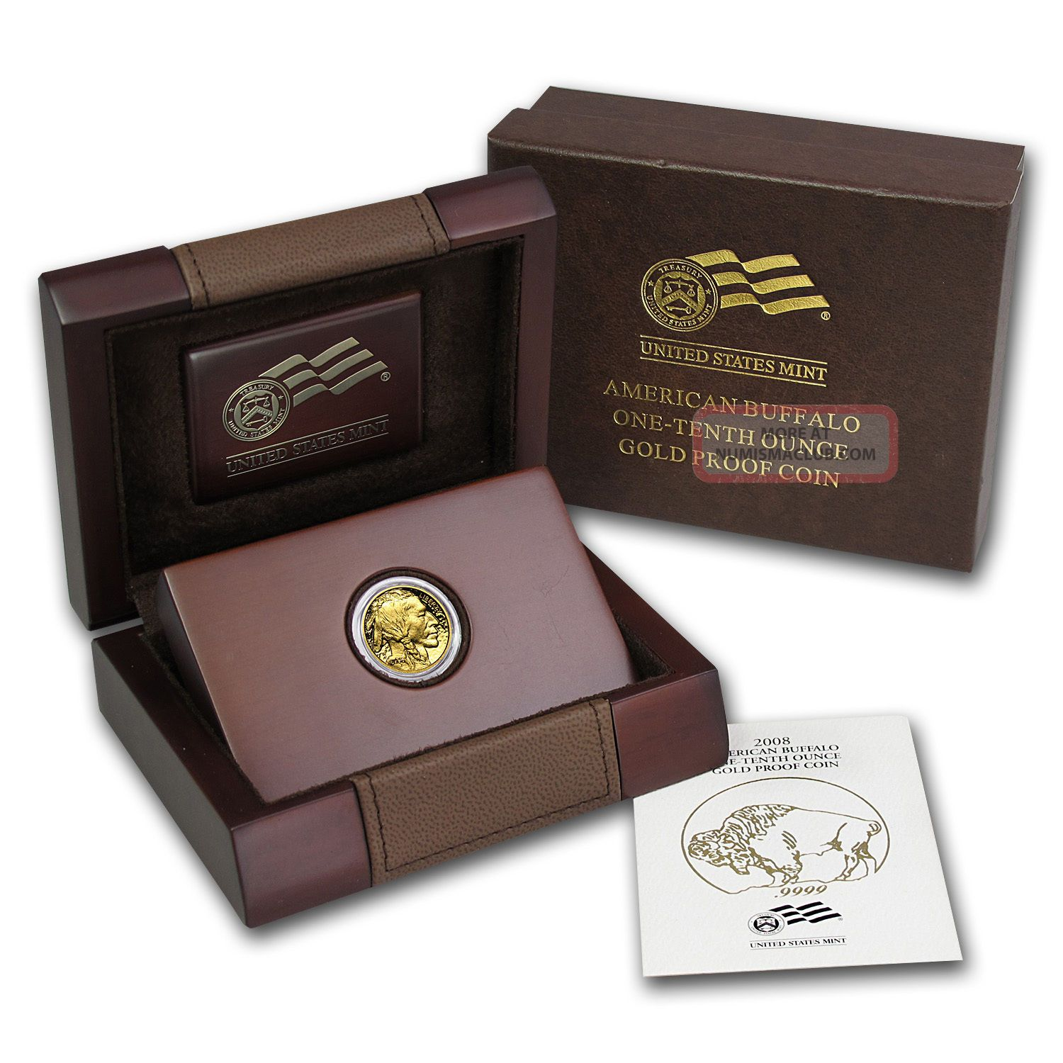 2008 - W 1/10 Oz Proof Gold Buffalo Coin - And Certificate - Sku 57266 Gold photo