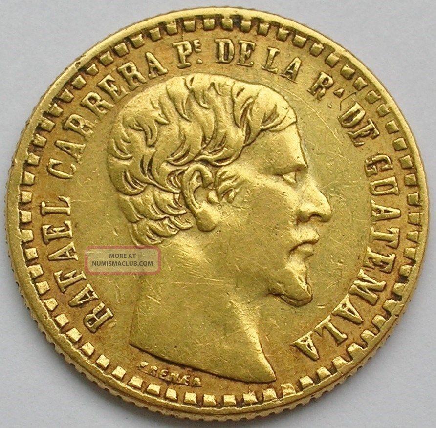 1860 Guatemala Gold Peso Coin Rafael Carrera South America photo