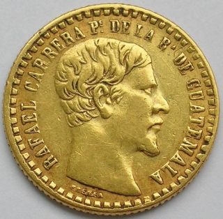 1860 Guatemala Gold Peso Coin Rafael Carrera photo