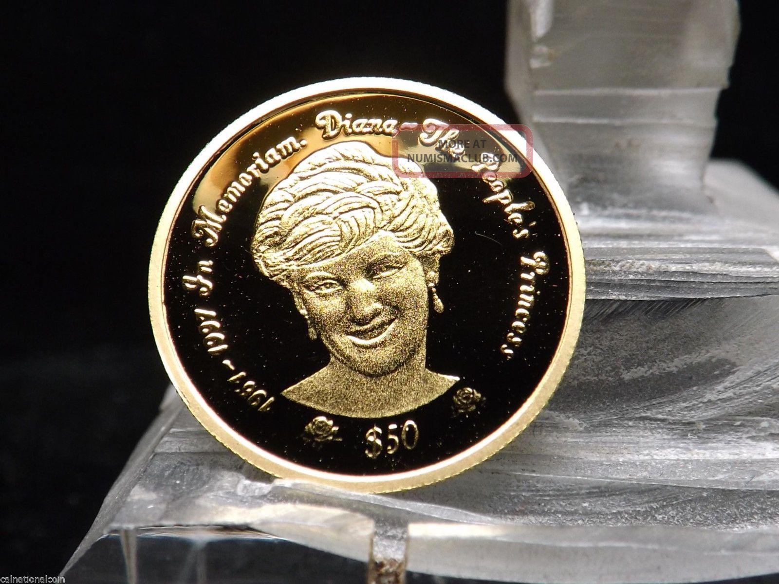 1997 Sierra Leone Princess Diana Proof 50 Pure Gold Coin