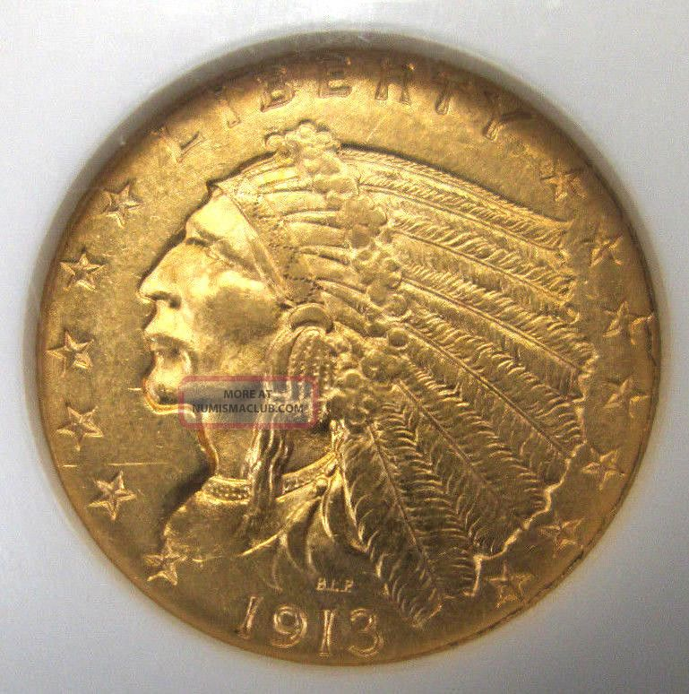 1913 United States 2 5 Indian Head Gold Quarter Eagle Ngc Ms62