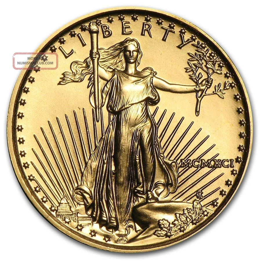 1991 P American Eagle 1 10th Oz 5 Gold Coin And