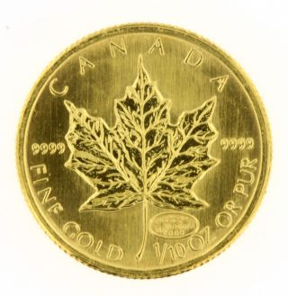 2000 $5 Canadian Maple Leaf 1/10 Oz.  9999 Gold Coin Bullion Airtight Container photo