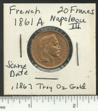 French 1861 - A Napoleon Iii 20 Francs Gold Coin,  Scarce Date, photo