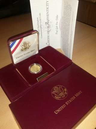 Rare 1999 - W Gold Proof 5 Dollar Washington Bicentennial 1/4 Oz Us Coin Nib photo