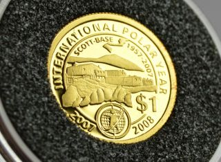 Zealand 2007 Scott Base 50th Anniversary 1/25 Oz Gold Coin Rare photo