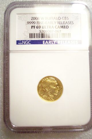 2008 W $5 American Gold Buffalo Unc 1/10oz - Ngc Pr69 Ultra Cameo Early Release photo
