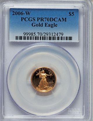 2006 - W G$5 Tenth - Ounce Gold Eagle Pr70 Deep Cameo Pcgs Give Gold This Christmas photo