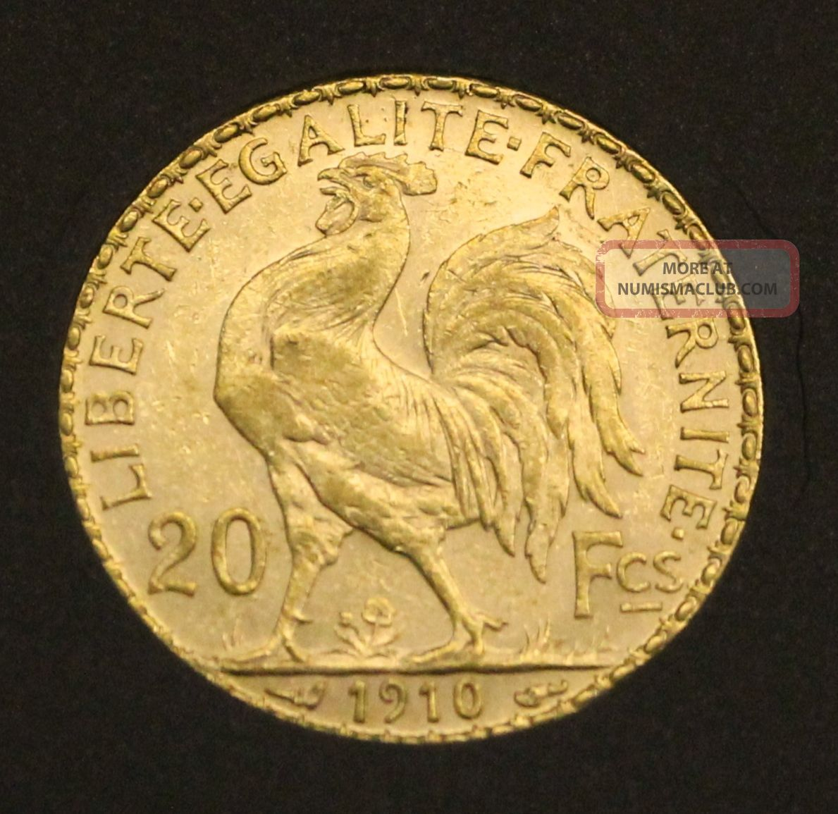 1910 French Gold 20 Franc Rooster Brilliant Uncirculated - A Great Collector Coin Europe photo